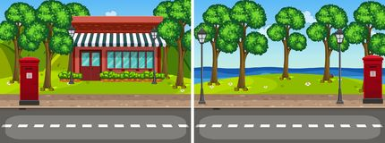 Two road scene with trees and shop Royalty Free Stock Photos