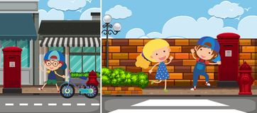 Two road scenes with kids. Illustration Stock Photo