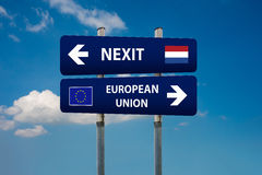 Two road signs, dutch elections nexit  and european union Royalty Free Stock Photo
