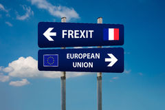 Two road signs, french elections frexitand european union Royalty Free Stock Photos
