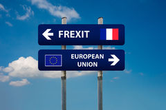 Two road signs, french elections frexitand european union stock image