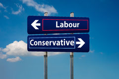 Two road signs representing labour and conservative parties in u. Concept of two road signs representing labour and conservative parties in uk early elections in Royalty Free Stock Images
