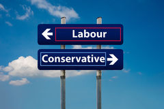 Two road signs representing labour and conservative parties in u royalty free stock photo