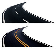 Two roads with turn. Two roads with turn isolated on white background Stock Image