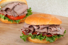 Two Roast Beef Sandwiches Stock Image