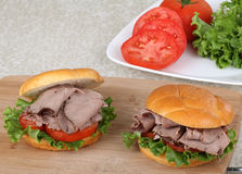 Two Roast Beef Sandwiches Stock Photography