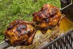 Two roast chickens. Roast chickens - nice color grilled stock photography