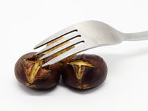 Two roasted chestnuts with fork Royalty Free Stock Photos