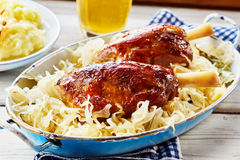 Two roasted haxe or German pork knuckles Royalty Free Stock Image