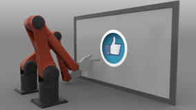 Two robot arms scrolling and clicking thumb up Like button. Automated social media promotion concept. Seamless loopable stock video