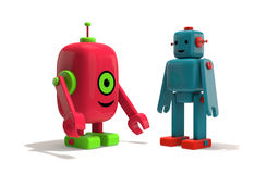 Two Robot Friends Royalty Free Stock Images