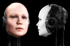 Two Robot Heads Stock Photography