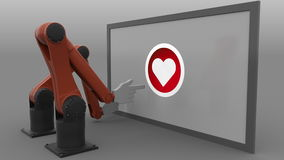 Two robotic arms scrolling and clicking heart-shaped like button. Seamless looping, 4K clip, ProRes stock video footage