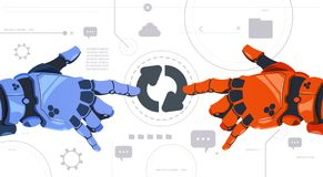 Free Two Robotic Hands Touch Updating Button On Digital Screen Abstract Modern Technology Background Royalty Free Stock Image - 111897116