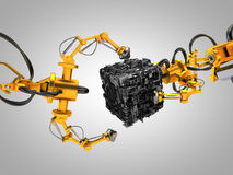 Two robotic hydraulic arms with cube. 3D rendering: robotic hydraulic arms grab for a cube Royalty Free Stock Images