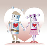 Two robots. In love, caricature Royalty Free Stock Image