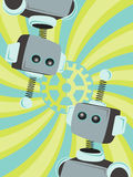 Two Robots Abstract looking gear swirl background. Upside down robot looking at duplicate robot in swirly gear setting editable  illustration Stock Images