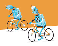 Two robots on a bike Stock Image