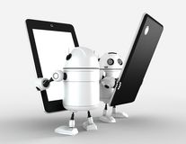 Two robots with blank tablet computers Stock Photography