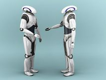 Two robots interacting. Two robots interacting with eachother Stock Photo