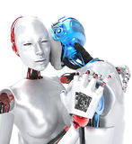Two robots in love. And embracing, white background stock illustration