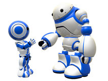 Two Robots Meeting and Shaking Hands Stock Photo
