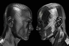 Two Robots in profile looking at each other Royalty Free Stock Image