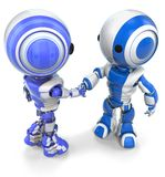 Two Robots Shaking Hands vector illustration