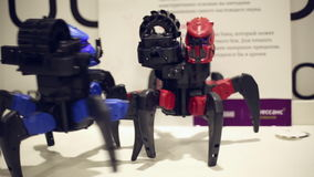 Two robots spider. Fighting at the robots exhibition stock video footage