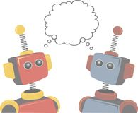 Two Robots Thinking of Same Subject royalty free illustration