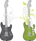 Two rock guitars isolated on the white Stock Photos