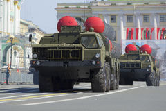 Two rocket launchers ZRS-300PM on parade rehearsal in honor of a close-up of the Victory Day. St. Petersburg Royalty Free Stock Photo