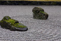 Two rocks in gravel. Two rock feature in a gravel garden at the Japanese Gardens in Portland, Oregon Royalty Free Stock Image