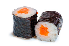 Two roll with salmon on white background Royalty Free Stock Photography