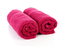 Two rolled colorful towels Royalty Free Stock Photos