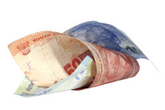 Two Rolled South African Bank Notes on White Royalty Free Stock Photos