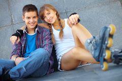 Two roller skaters Stock Photos