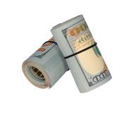 Two rollers of money. On a white background stock photos