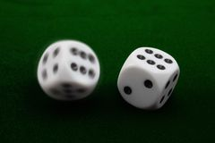 Two Rolling Dices Royalty Free Stock Photos