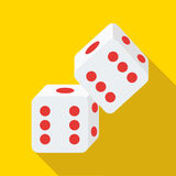 Two rolling white dice icon, flat style. Two rolling white dice icon in flat style on a yellow background royalty free illustration