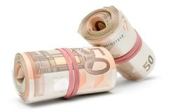 Two Rolls of Euro Bills Royalty Free Stock Image