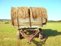 Two rolls of hay on a cart Stock Images