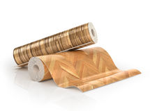 Two rolls of linoleum with wood texture. 3d illustration royalty free illustration