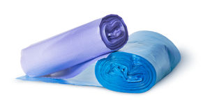 Two rolls of plastic garbage bags Stock Images