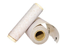 Two Rolls of Sandpaper. Isolated on white background. Used on an electric sander Royalty Free Stock Photography