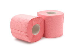 Two rolls of toilet paper on white Stock Photos