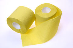 Two rolls of toilet paper. On white background Royalty Free Stock Photography