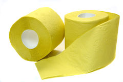 Two rolls of toilet paper. On white background Stock Image