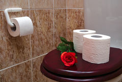 Two rolls of white toilet paper with red rose Royalty Free Stock Photography