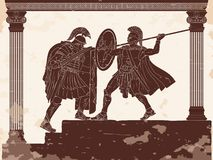 Two Roman legioner. Two Roman legioners in armor and helmets fight with a sword and a spear. Vector drawing on a historical theme vector illustration